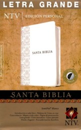 NTV Santa Biblia edicion personal letra grande, NTV Personal Size Large Print Bible, Imitation Leather, White with Thumb Index,