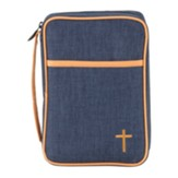 Denim with Orange Cross Bible Cover, Medium