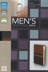 NIV Men's Devotional Bible, Compact, Italian Duo-Tone, Walnut/Espresso