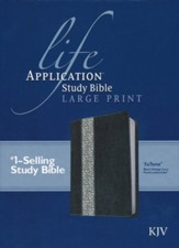 KJV Life Application Study Bible, Large Print Black/Vintage Ivory Floral Leatherlike - Imperfectly Imprinted Bibles