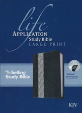 KJV Life Application Study Bible 2nd Edition, Large Print  Black/Vintage Ivory Floral Indexed Leatherlike - Imperfectly  Imprinted Bibles