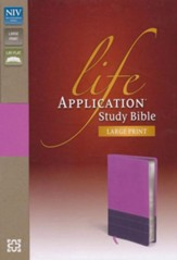 NIV Life Application Study Bible, Large Print, Italian Duo-Tone, Dark Orchid/Plum - Slightly Imperfect
