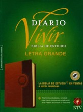 NTV Biblia de Estudio del Diario Vivir, TuTone Brown/Tan, Letra Grande Indexed LeatherLike - Imperfectly Imprinted Bibles