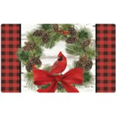 Welcome Cardinal Wreath Door Mat