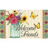 Welcome Friends (floral in jar), Floor Mat