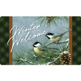 Winter Welcome, Chickadees and Pine, Floor Mat
