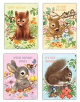 Cuddly Critters Children's Birthday Cards, Box of 12