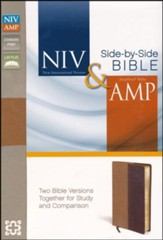 NIV/Amplified Side-By-Side Bible--soft leather-look, camel/burgundy