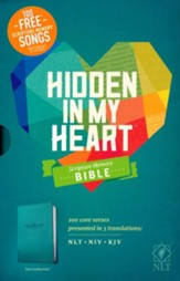 NLT Hidden in My Heart Scripture Memory Bible, Soft  Imitation Leather, Teal
