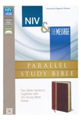 NIV & The Message Parallel Study Bible Personal Size, Italian Duo-Tone, Dark Caramel/Black Cherry