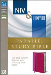 NIV & The Message Parallel Study Bible, Personal Size, Orchid/Raspberry - Imperfectly Imprinted Bibles