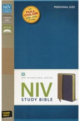 NIV Study Bible, Soft Leather-look, Tan/Blue Thumb-indexed  - Slightly Imperfect