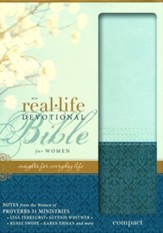NIV Real-Life Devotional Bible for Women, Compact: Insights for Everyday Life, Italian Duo-Tone, Sea Glass/Caribbean Blue