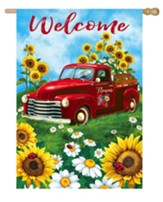 Welcome, Sunflowers, Pickup Truck, Flag, Large