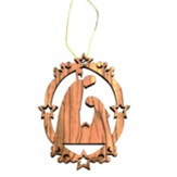 Holy Family Ornament w Stars, Olivewood