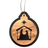 Nativity with Holy Family in a Stable Ornament, Round, 2-Tone