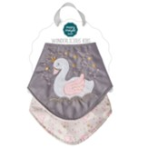 Itsy Glitzy Swan Bibs, Set of 2