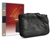 NIV Life Application Study Bible, Large-Print--bonded leather, black (indexed) with Bible Cover