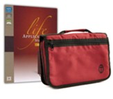 NIV Life Application Study Bible, Large-Print--bonded  leather, burgundy (indexed) with Bible Cover