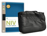 NIV Study Bible--bonded leather, black with Bible cover