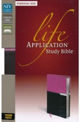 NIV Life Application Study Bible, Personal Size Indexed, Italian Duo-Tone, Orchid/Chocolate