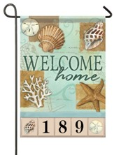 Welcome Home, Beach, Shells, Small Address Flag