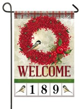 Welcome, Winterberry Wreath, Address Flag