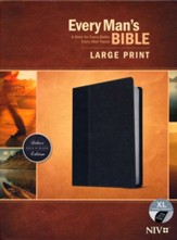 NIV Every Man's Bible, Large Print, TuTone, LeatherLike, Onyx, With thumb index
