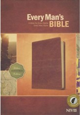 NIV Every Man's Bible, Deluxe Journeyman Edition, LeatherLike, Tan, With thumb index - Slightly Imperfect