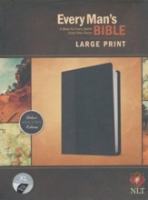 NLT Every Man's Bible, Large Print, TuTone LeatherLike, Onyx, With thumb index