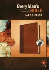 NLT Every Man's Bible, Large Print, TuTone, LeatherLike, Tan, With thumb index - Imperfectly Imprinted Bibles