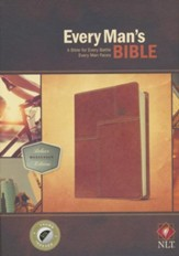NLT Every Man's Bible, Deluxe Messenger Edition, LeatherLike, Brown, With thumb index - Imperfectly Imprinted Bibles