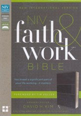 NIV Faith and Work Bible--soft leather-look, charcoal
