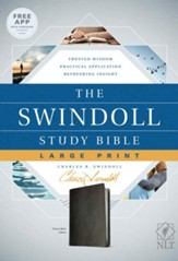 NLT The Swindoll Study Bible Large Print LeatherLike, Black