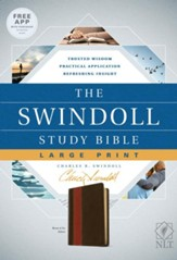 NLT The Swindoll Study Bible Large Print LeatherLike, Brown/Tan