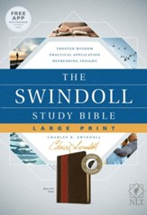 NLT The Swindoll Study Bible Large Print LeatherLike, Brown/Tan Indexed