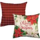 Merry Christmas, Pretty Poinsettias, Pillow
