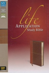 NIV Life Application Study Bible, Imitation Leather, Carmel Dark Carmel, Indexed - Imperfectly Imprinted Bibles