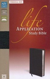 NIV Life Application Study Bible, Personal Size, Bonded Leather, Black - Imperfectly Imprinted Bibles