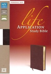 NIV Life Application Study Bible, Personal Size, Bonded Leather, Burgundy - Imperfectly Imprinted Bibles