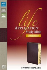 NIV Life Application Study Bible, Large Print, Bonded Leather, Burgundy, Thumb Indexed - Imperfectly Imprinted Bibles