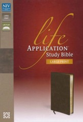 NIV Life Application Study Bible, Large Print, Bonded Leather, Distressed Brown, Thumb Indexed - Imperfectly Imprinted Bibles