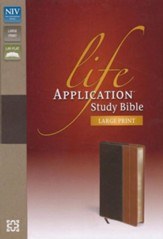 NIV Life Application Study Bible, Large Print, Italian Duo-Tone, Chocolate/Tan - Slightly Imperfect