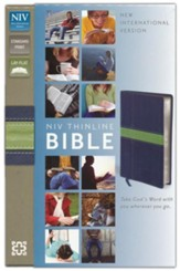 NIV Thinline Bible, Duo-Tone, Midnight Blue/Moss Green  - Imperfectly Imprinted Bibles