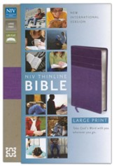 NIV Thinline Large-Print Bible--soft leather-look, purple/plum