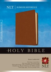 NLT Slimline Reference Bible--soft leather-look, brown