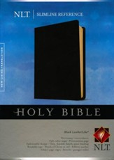 NLT Slimline Reference Bible--soft leather-look, black
