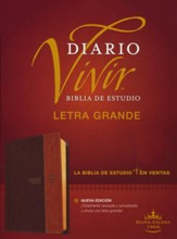 RVR60 Biblia de estudio del diario vivir, letra grande, RVR60 Large-Print Life Application Study Bible--soft leather-look, brown/tan