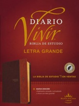 RVR60 Biblia de estudio del diario vivir, letra grande, RVR60 Large-Print Life Application Study Bible--soft leather-look, brown/tan (indexed)