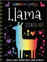 Scratch and Sparkle Llamas Stencil Art